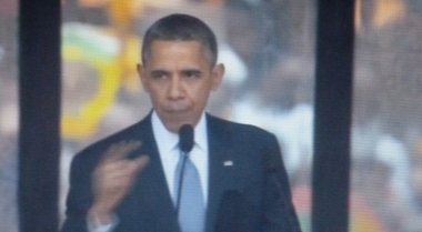 Obama telling a freedom-themed fable in Soweto