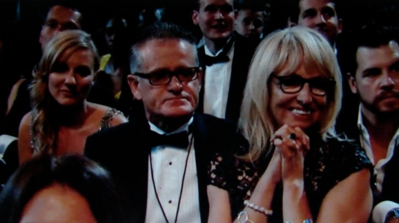 Proud parents: Father Vic O'Connor and mother Sonya Yelich watch their daughter give her suppressed Grammy speech for Song of the Year, 'Royals'.