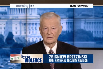 FAMILY TIES: Zbigniew Brzezinski interviewed on the MSNBC news programme that his daughter, Mika, co-hosts.