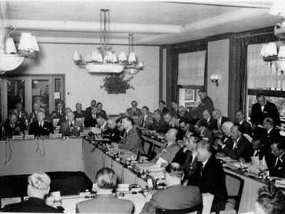 Fascist Formation: First Meeting, Bilderberg Hotel May 29 to 31, 1954, Oosterbeek, Netherlands, chaired by former SS officer, Prince Bernard.