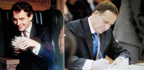 Greedy B'Stards: Alan B'Stard enjoyed cash, while wizard banker John Key used magic to conjure credit.