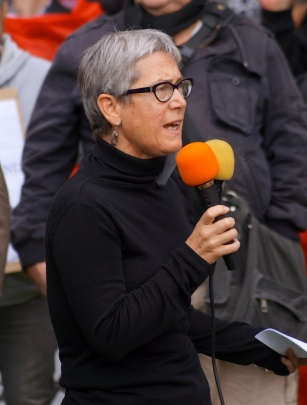Kelsey in Stereo: Activist scholar Jane Kelsey with two mics at an anti-GSCB rally in 2013. She attempts to be doubly heard by the patriarchal news media, that have been diagnosed with Perennial Selective Hearing (PSH).