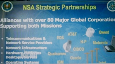 Totalitarian State Apparatus: NSA boasts its corporate partners in a Snowden-leaked secret power-point slide.
