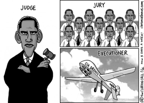 One Strike, Your Out: Human rights lawyers argue that drone strike deaths constitute extra-judicial killings, but it's hard to argue with Obama's jury cloning powers.