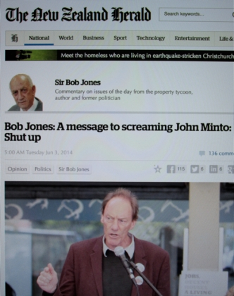 "Hate Speech: Capital city property tycoon Sir Bob Jones deploys a derogatory slur, by calling seasoned activist John Minto a ""screaming skull"" in his newspaper column."