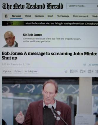 "Hate Speech: Capital city property tycoon Sir Bob Jones deploys a derogatory slur, by calling seasoned activist John Minto a ""screaming skull"" in his newspaper column."