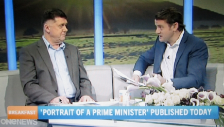 """Launch-day Set Piece: Smirking biographer John Roughan downplayed the political bias behind the book project on TV One's """"Breakfast"""" news show."""