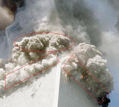 Wonky Collapse: As the South Tower (or World Trade Center 2) begins it collapse, the top section falls asymmetrically.