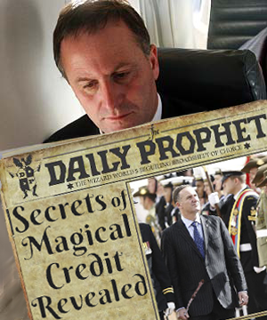 "Credit Conjurer: Ex-Wall Street & London banker, John Key, as New Zealand's prime minister uses his Money Tree Wand to borrow $300m a week from a ""foreign pixie"" to keep the economy 'solvent'."