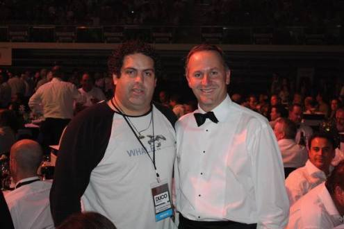 Chalk and Cheese: Right-wing Blogger Cameron Slater and Rich-lister Prime Minister John Key (net worth $50 million at the time) in happier nights.
