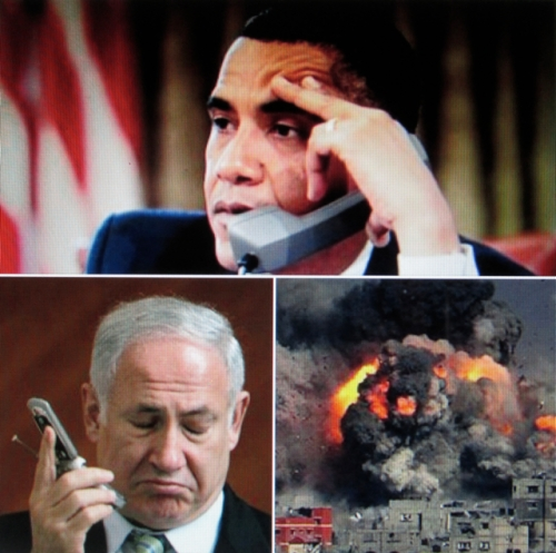 Heated Exchange: Barack Obama tells Israeli Prime Minister Benjamin Netanyahu he won't get anymore bucks if Israel keeps bombing Palestinians in Gaza.