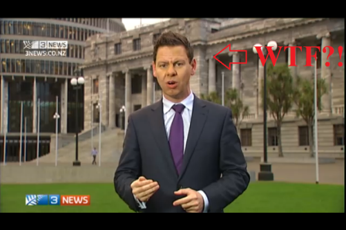 The Colour Purple: Gower essentially bullied Labour party leader David Cunliffe for wearing a red scarf, a symbolic association to the colour of his party. In the same report, Gower subtly associated himself with the PM's tie of choice for stately occasions, while doing this stand-up to camera in front of parliament. The Queen of New Zealand holds the 'Veto Power' Card.