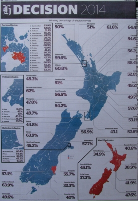 Blue Tory Ink: The New Zealand Economy (AKA NZ Inc.) and 'lefties', turned almost completely blue after the blue-coloured right-wing National Party's trouncing win.